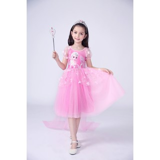 Váy công chúa elsa tay voan cho bé gái