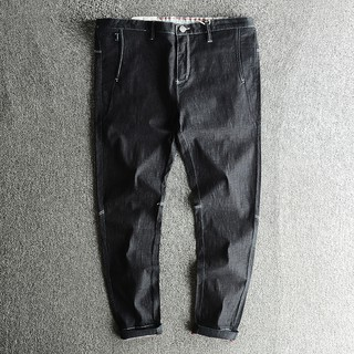 Men's new products summer thin section nine pants youth casual 缉 line jeans Kore