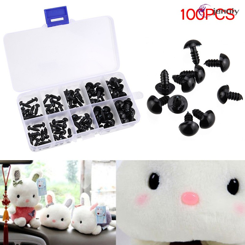 【JNY】 100pcs Black Plastic Safety Eyes for Teddy Plush Doll Puppet DIY Crafts 6-12mm