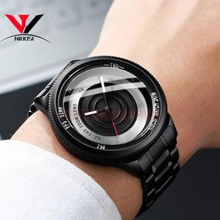 Đồng hồ đeo tay mặt tròn cho nam với phong cách camera độc đáo dây thép không gỉ NIBOSI 2359 - JKSTH-2359-DHNBS