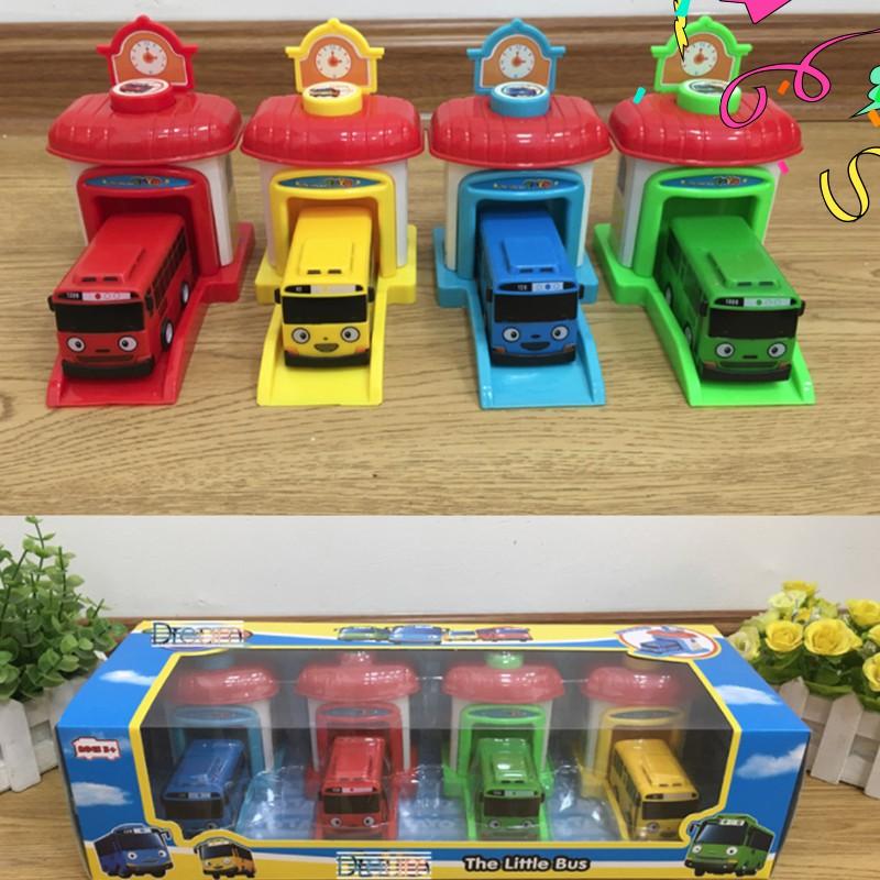 Tayo the little bus xe ô tô đồ chơi trẻ em bộ gồm 4 xe và 4 nhà (cỡ nhỏ)