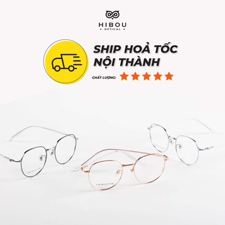 [FULL BOX] Gọng kính cận tròn GT63138 bằng hợp kim nhẹ Hibou Optical