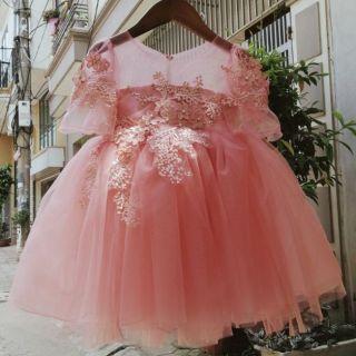 Váy công chúa đính hoa thêu cao cấp nhiều màu cho bé 10-29ki