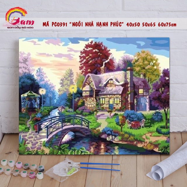 Tranh sơn dầu số hoá tự tô màu DIY phong cảnh - Mã PC0391 Ngôi nhà hạnh phúc