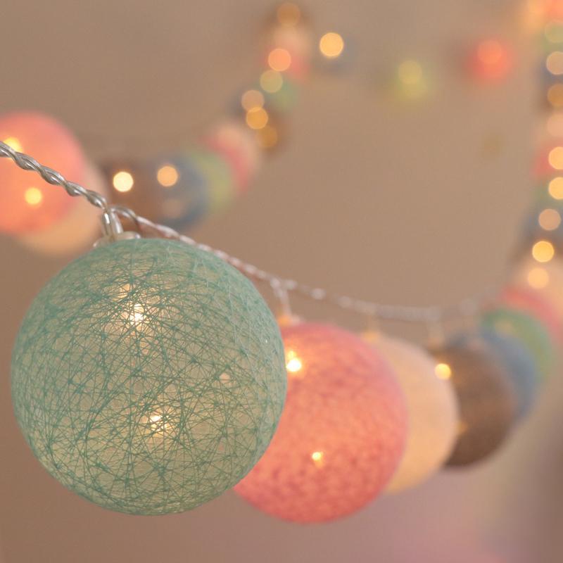 Dây đèn LED 20 bóng cotton dùng trang trí tiệc