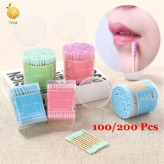 TEAK 100 200Pcs With Storage Box Beauty Disposable Health Care Applicator Tool Double Heads Cotton Swabs thumbnail