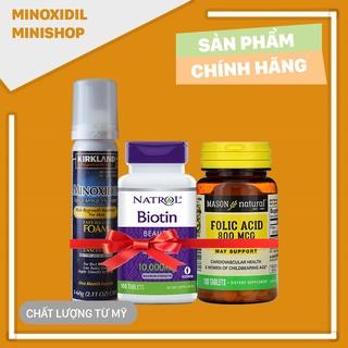 Minoxidil 5% Dạng Bọt Mọc Râu Tóc Combo Biotin Folic