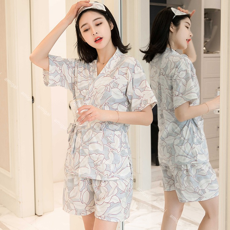 bộ đồ ngủ kimono phong cách nhật bản cho nữ