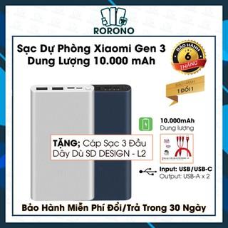 💥Sạc Dự Phòng Gen 3 💥SANG TRỌNG/Dung lượng 10000mAh Chuẩn Dung Lượng, Tích Hợp Sạc Nhanh