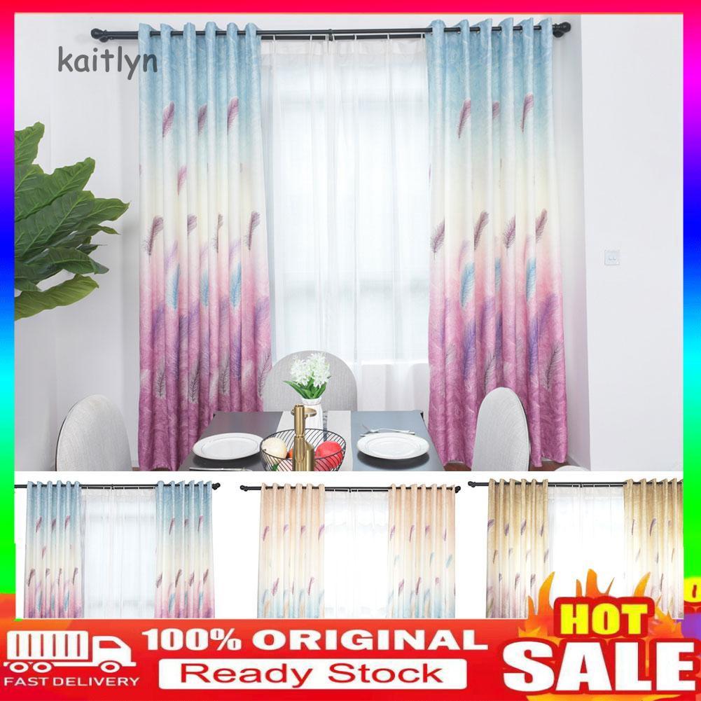 COD-100x270cm Feather Print Light Blocking Window Curtain Balcony Drape Patio Decor