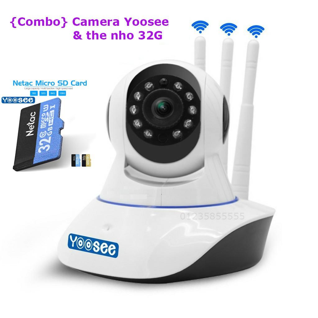 Combo Camera Yoosee 3 râu + Thẻ nhớ hãng 32G netac