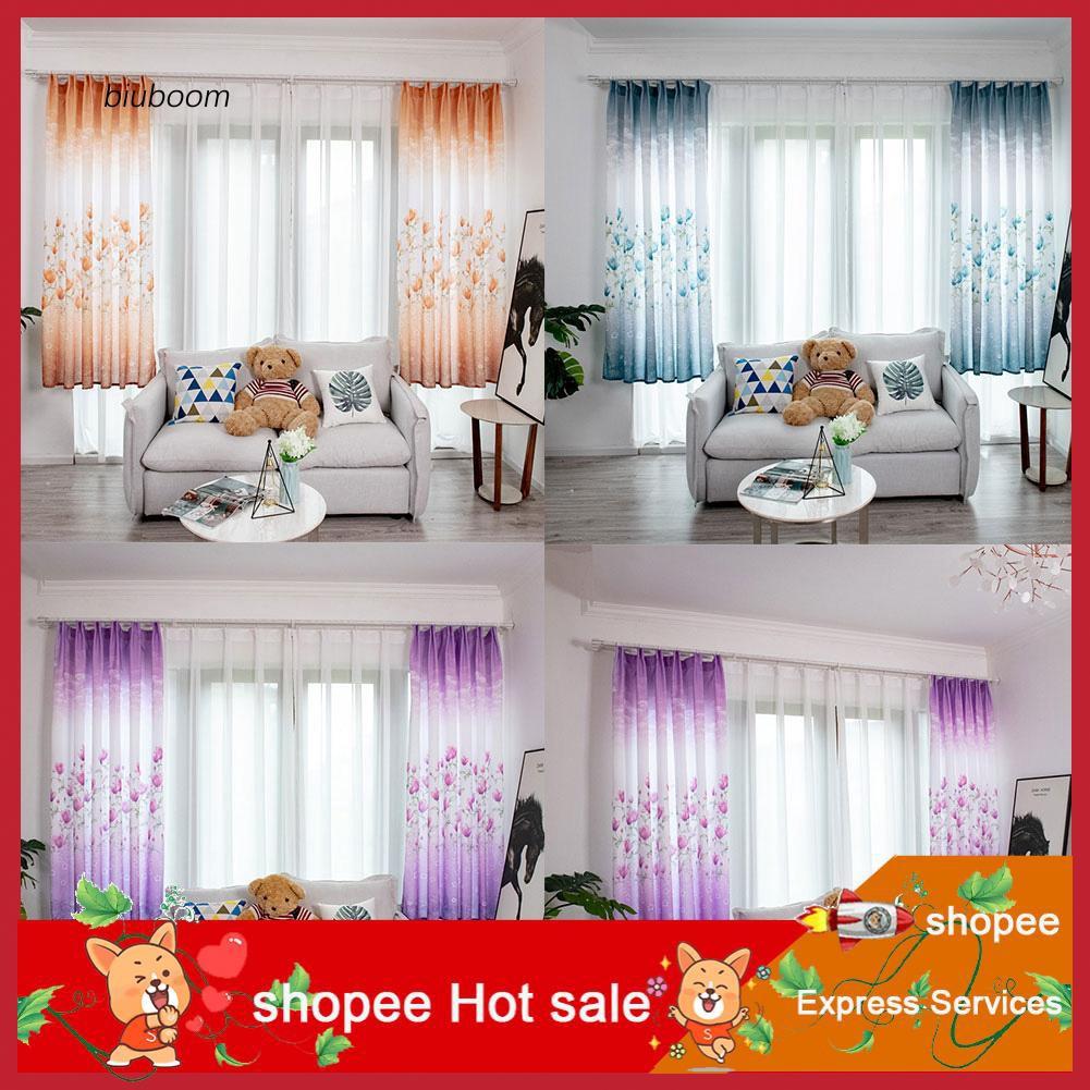 zxc_100x200cm Flower Light Blocking Window Curtain Balcony Drape Patio Hotel Decor