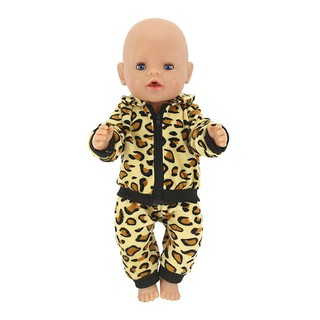17 Inches 43cm american doll leopard Plush dress simulation doll clothes
