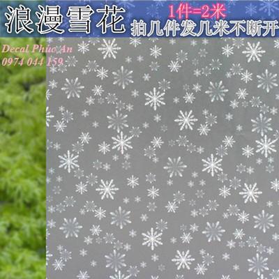 Decal dán kính hoa tuyết trắng khổ rộng 90cm