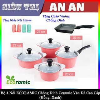 Bộ 4 nồi gốm sứ ECORAMIC bếp ga điện chống dính size 18 20 22 24 cm màu hồng tặng 2 nhắc nồi sillicon và chảo vuông