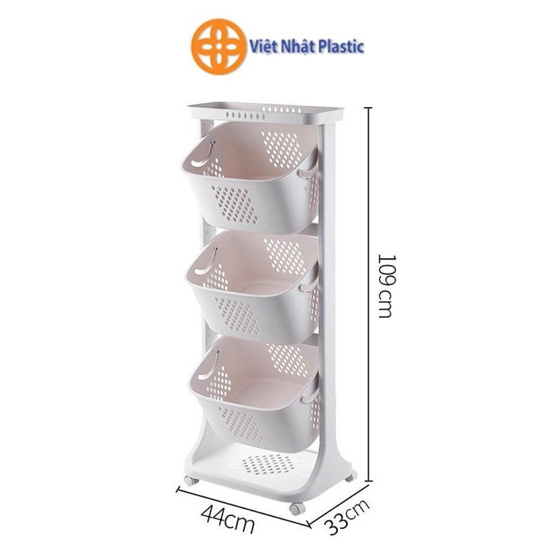 Kệ đựng đồ đa năng ️SIÊU BỀN ️ nhựa plastic, kệ 3 tầng có bánh xe tại Hà Nội