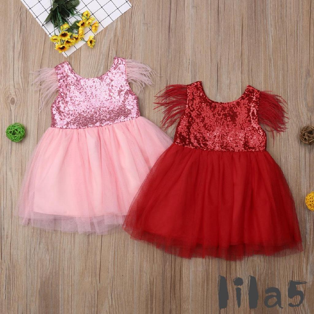 ღ☭Toddler Baby Girls Sequins Lovely Dress Feather Sleeve Princess Party Dress Tutu