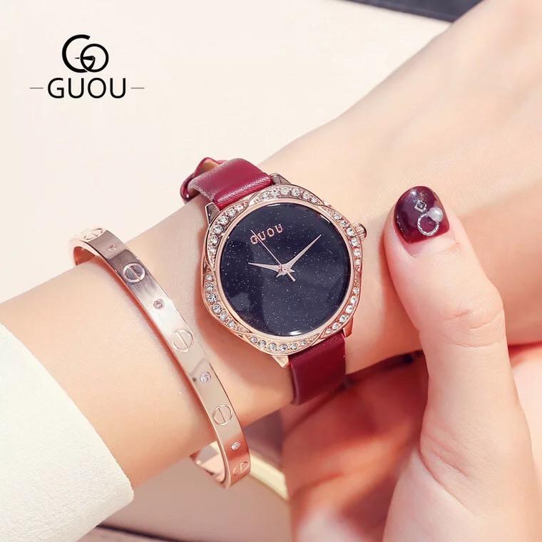 Đồng hồ nữ GUOU 8094 hàng chính hãng dây da nhỏ xinh