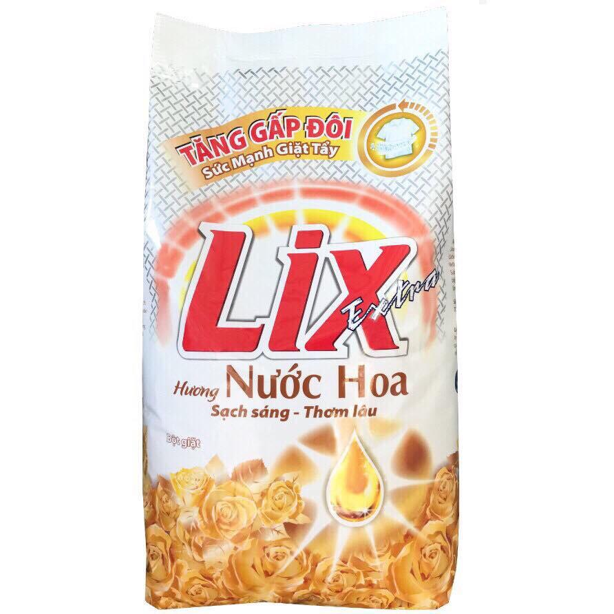Bột giặt Lix Extra hương Nước Hoa 5.5kg và Nước rửa chén Lix Vitamin E hương Trà Xanh 1,5kg