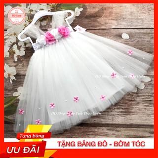 Đầm cho bé ❤️FREESHIP❤️ Đầm công chúa cho bé gái Trắng hoa hồng đính hoa nhí