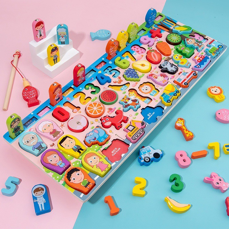 Bộ đồ chơi câu cá trí tuệ 63 chi tiết cho bé, đồ chơi phát triển trí thông minh giúp bé vừa học vừa chơi hiệu