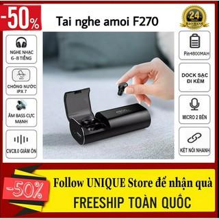 Tai Nghe Bluetooth 5.0 Amoi F270 PRO TWS NÚT BẤM - Cốc Sạc Kiêm Sạc Dự Phòng Cho Điện Thoại Chống Nước IPX5