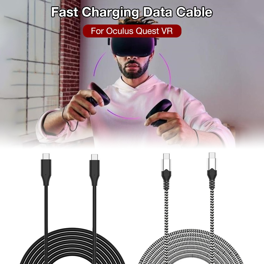 ゚*aseason゚*High Speed USB Type C Cable Fast Charging Data Cable for Oculus Rift S/Rift CV1/ Go/ Quest/ Rift DK2