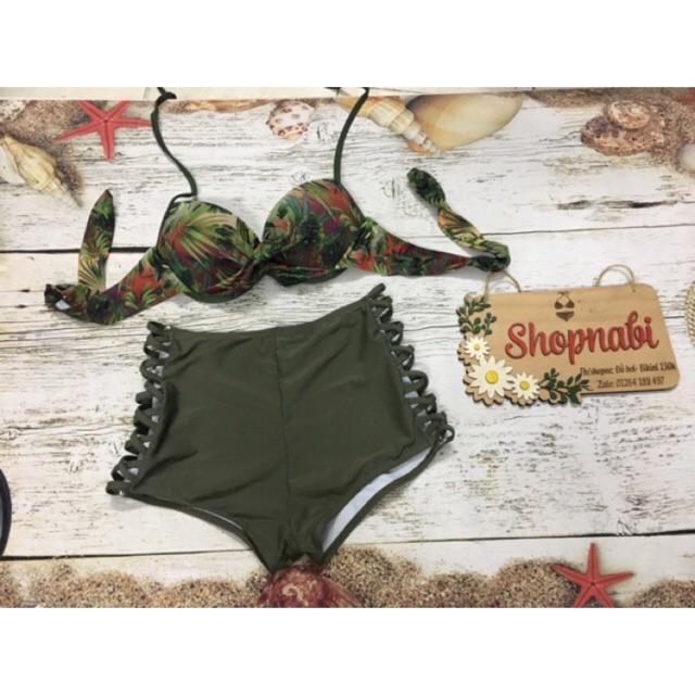 Bikini hoa đậm phối quần rêu nhúng cạp cao