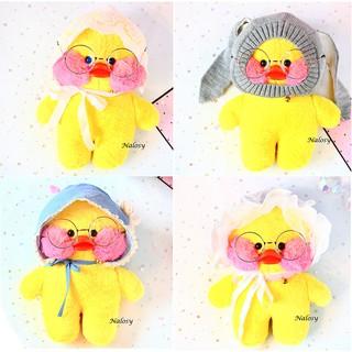 Gấu bông bé vịt má hồng màu vàng với 4 kiểu nón cute