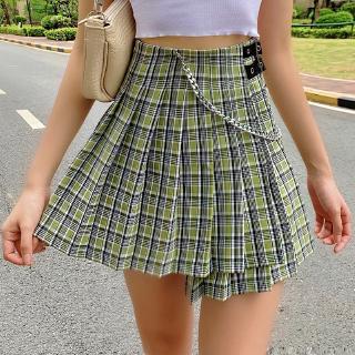 Fashion Women Green Plaid Chain High Waist Pretty Casual Skirt