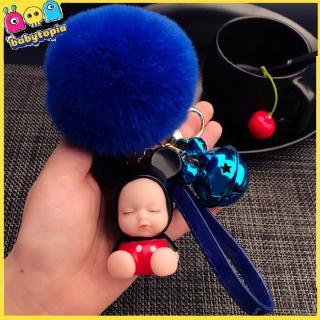 Cute Cartoon Bear Sleeping Doll Key Chain Silicone Doll Plush Ball Pendant