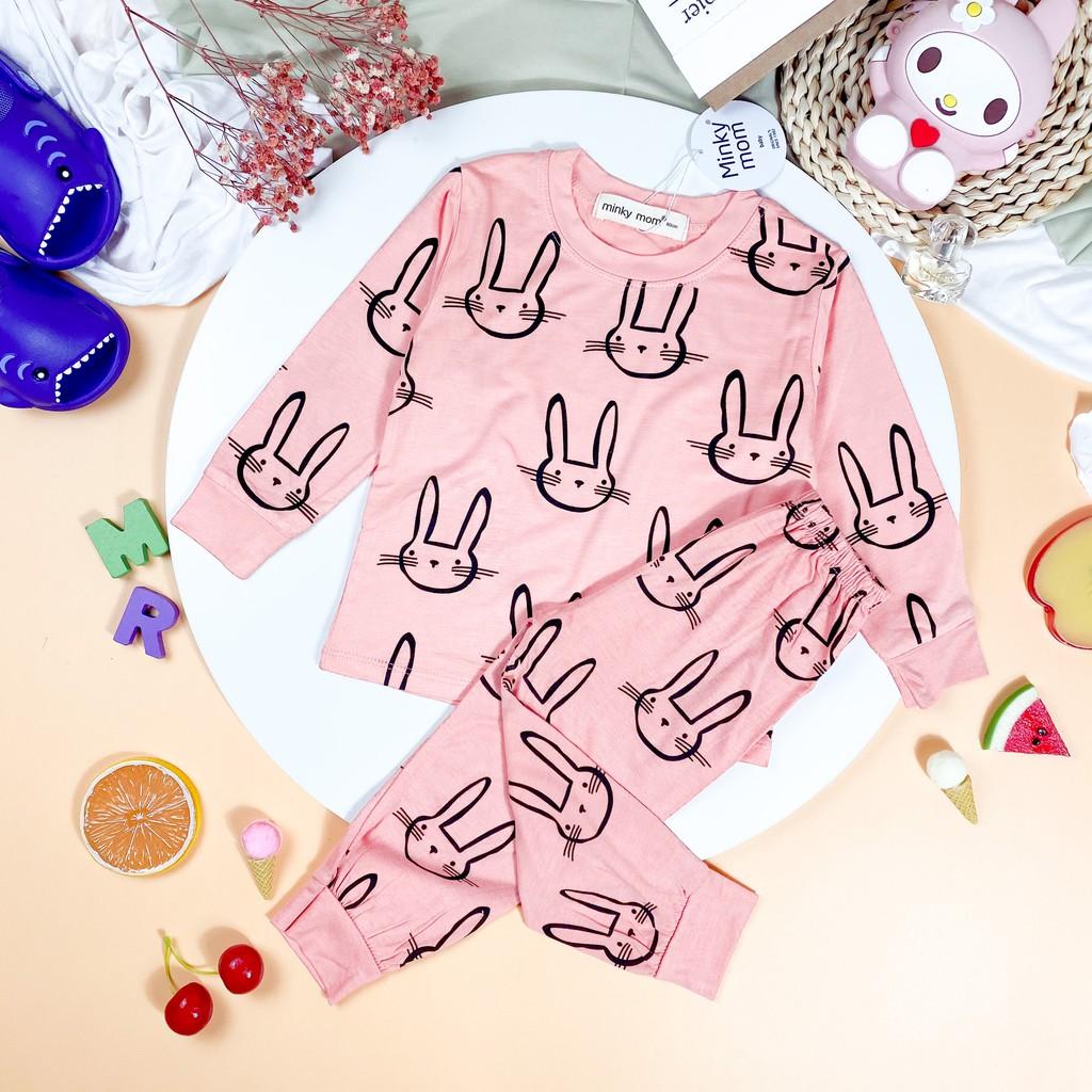 Bộ Dài Tay THUN LẠNH MINKY MOM In Hình Toàn Thân Họa Tiết Thỏ Cute Cho Bé TD-IN22