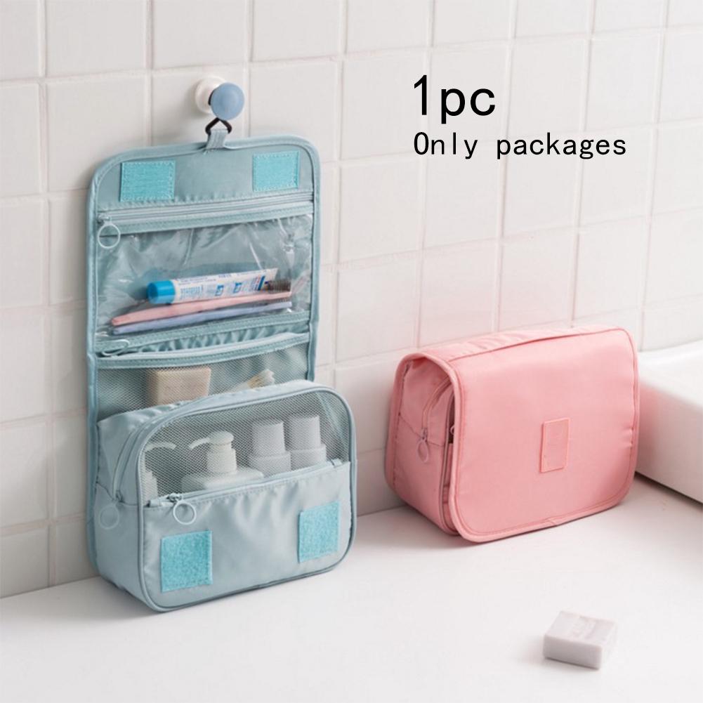 Travel Portable Mesh Pocket Design Large Capacity Hanging Folding Durable Oxford Cloth Cosmetic Bag