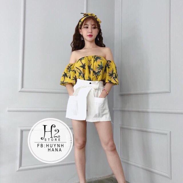 1159125370 - Set đầm áo hoa bẹt vai phối chân váy kaki . Nguyên set mặc đi dạo đi chơi . Thể hiện cá tính nổi bật ở mỗi bạn