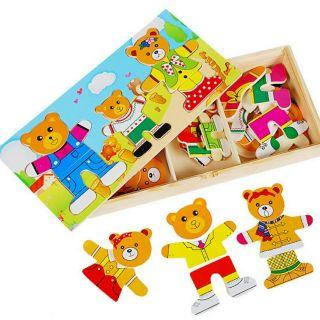 Đồ chơi gỗ thông minh. Hộp gỗ 3 nhân vật, gấu bố mẹ, và gấu con. Chất liệu gỗ,màu sắc tươi sáng sinh động.Gấu 3nhân vật