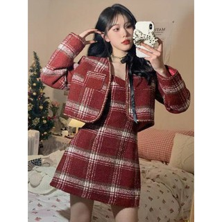 Set áo khoác croptop tay dài đỏ kẻ sọc caro vest blazer túi giáng sinh noel + đầm 2 dây ulzzang