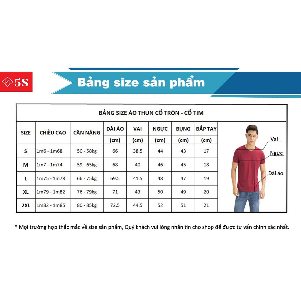 Áo Thun Nam Cổ Tròn 5S (5 màu) Tay Ngắn,Trẻ Trung, Mẫu Mới 2020