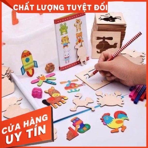 Bộ đồ chơi gỗ khuôn vẽ cho bé