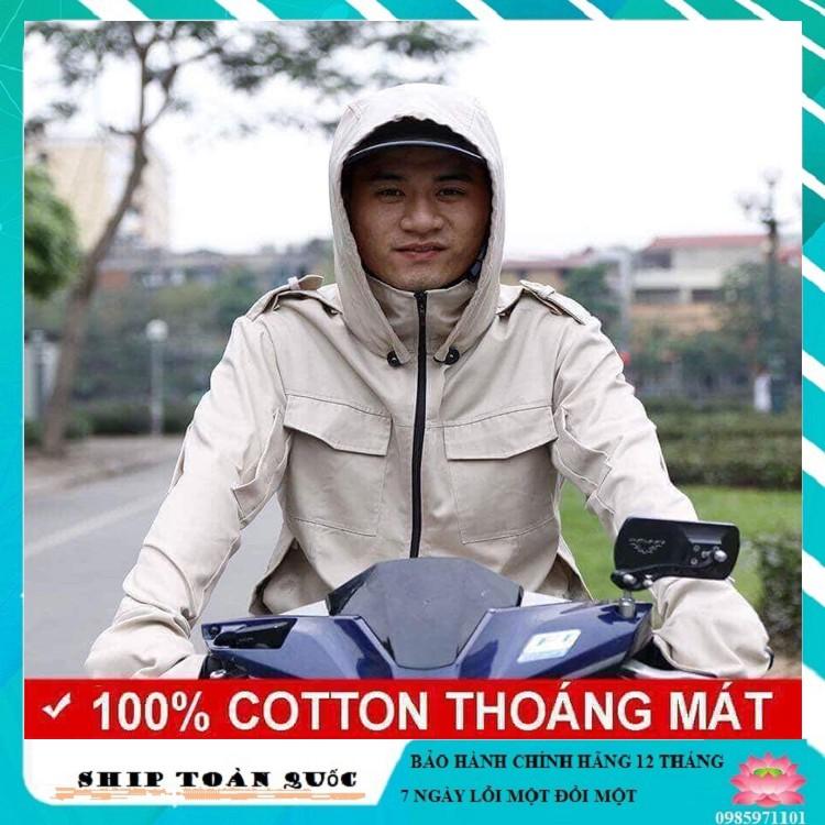 Áo chống nắng chất liệu Kaki cho nam màu trắng sữa cực mát (Đầy đủ size L, XL, XXL)