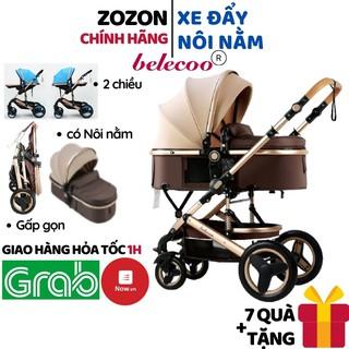 Xe đẩy cho bé Belecoo nôi nằm cao cấp gấp gọn 2 chiều 3 tư thế có mái che giảm sóc cho bé từ sơ sinh khung hợp kim Zozon thumbnail