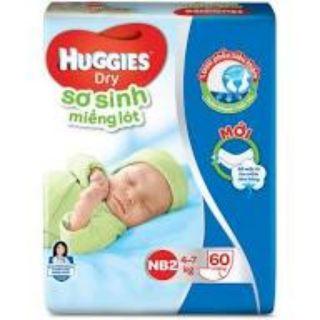 Miếng Lót Sơ Sinh Huggies Dry Newborn 2 – 60 (60 Miếng) – Bao Bì Mới