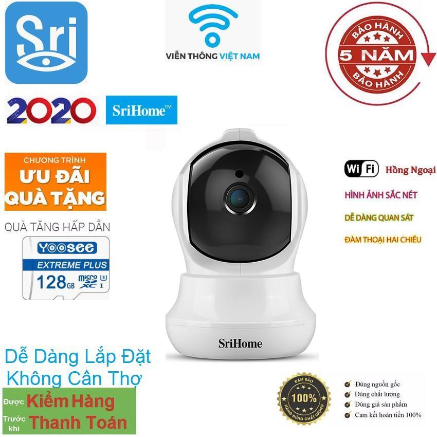 Camera Srihome SH020 Tặng Thẻ 128GB - 3MP FHD - Kết nối wifi - Đàm thoại hai chiều - Phát hiện chuyển