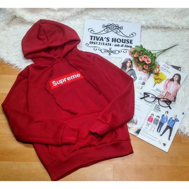Áo Hoodie Supreme Unisex Nam Nữ Đỏ Hình Thêu {Rẻ Vô Địch}Áo Hoodie Supreme Unisex Nam Nữ Đỏ Hình Thêu