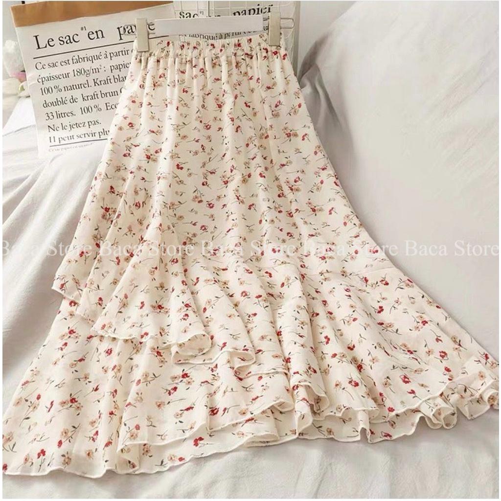 [Baca Store] Chân váy voan màu be hóa nhí, chân váy dài vintage hàng đẹp chất lượng cao