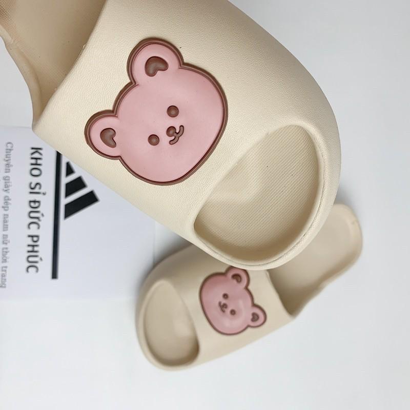 Dép bánh mì hình mặt Gấu cực mềm êm, dễ thương, đế độn Hot trend 2021