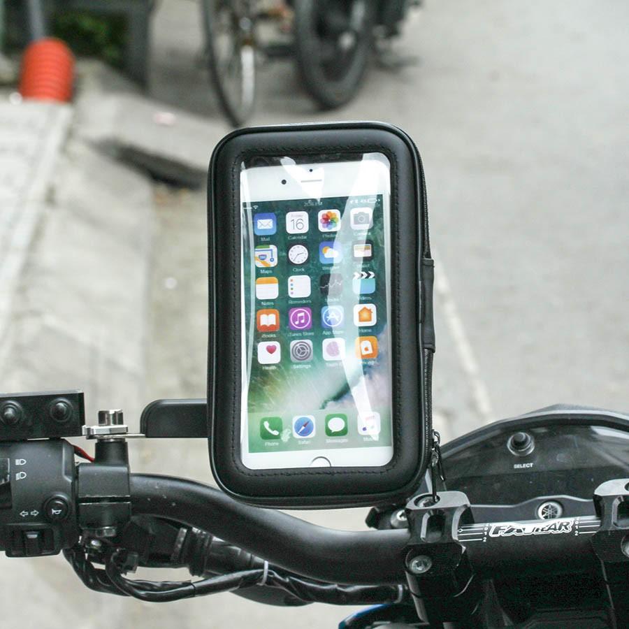 Giá Đỡ - Kẹp điện thoại gắn xe máy kiêm túi chống nước (như hình)