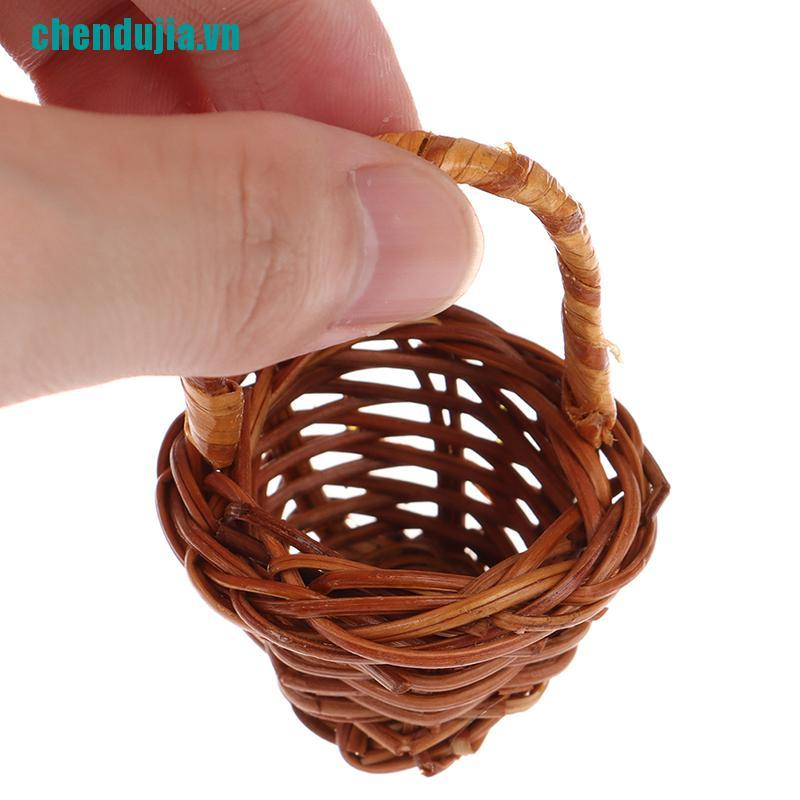【chendujia】Mini Cute Dollhouse Rattan Frame Hand-woven Vegetable Basket