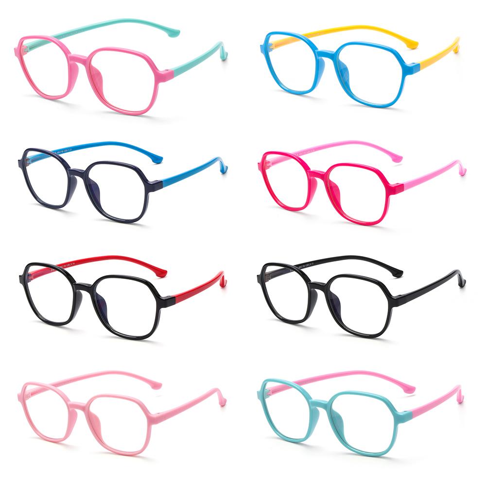 ROW Age 3-10 Blue Light Blocking Glasses Soft TV Phone Glasses Blue Light Glasses for Kids Anti-eyestrain Silicone Frame UV400...