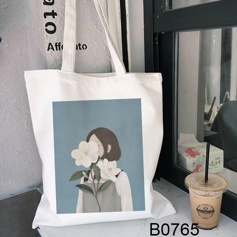 Túi Vải Canvas In Hình Thời Trang Hàn Quốc