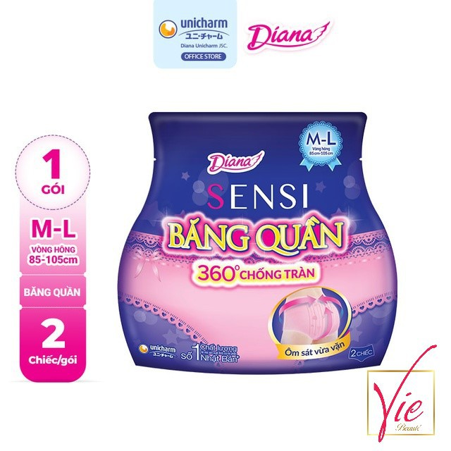BVS Diana Ban Đêm - Băng Vệ Sinh Diana Sensi Dạng Quần Size M-L & S-M 2 Chiếc/Gói